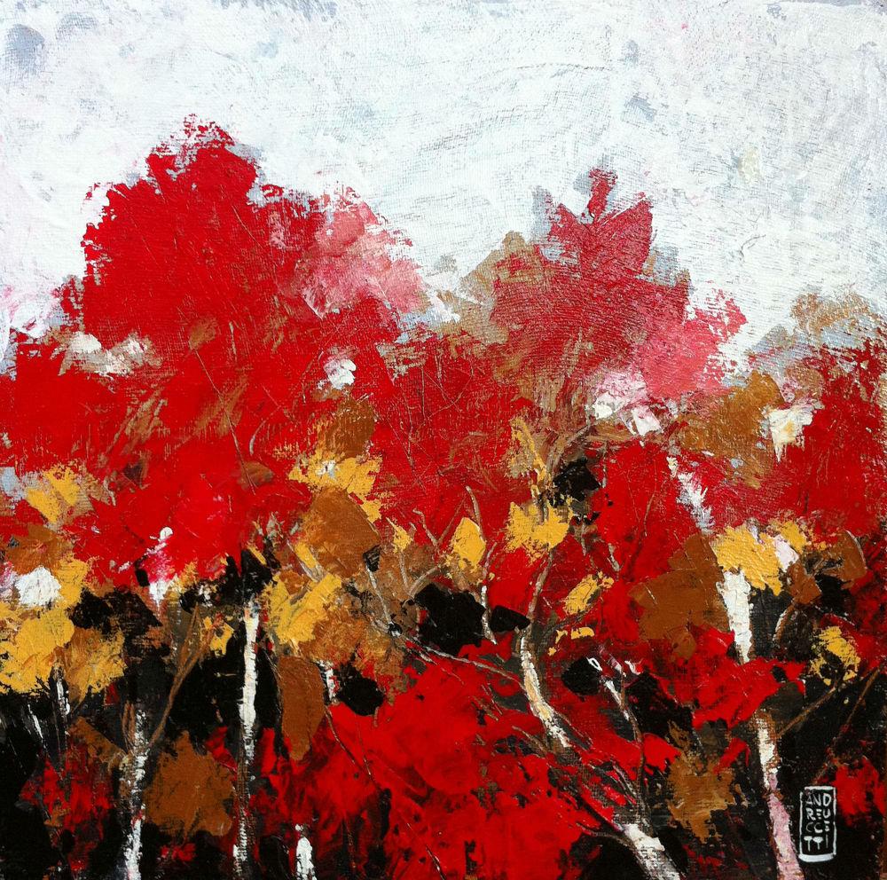 Nel bosco di foglie rosse