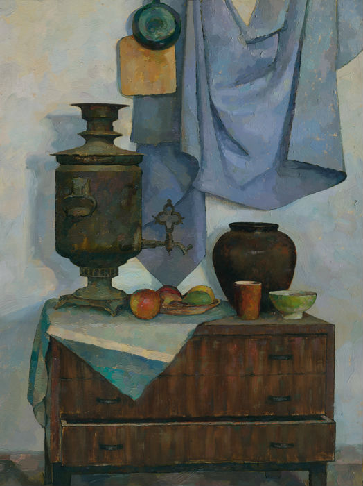 Still-life-with-samovar-oil-painting-artist-Daniil-Belov