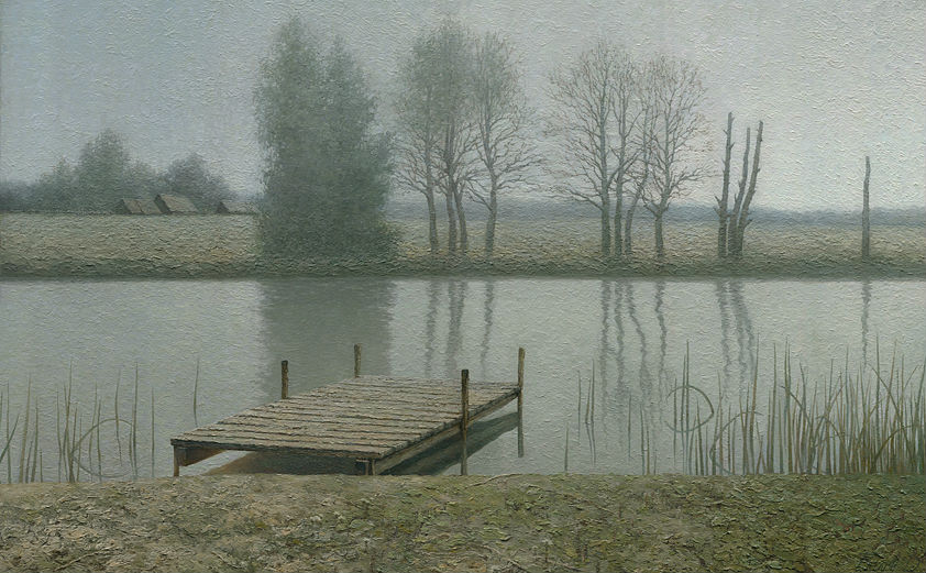 Calm-dock-landscape-painting-by-artist-Daniil-Belov